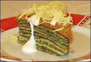 Palacinková torta so špenátom