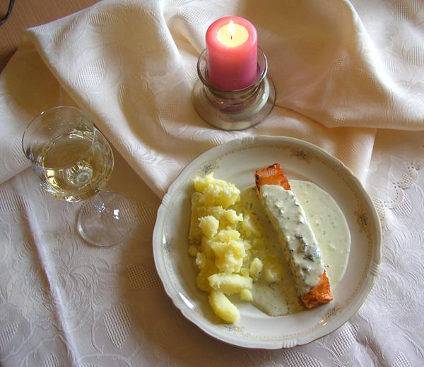 Losos v omáčke z bieleho vína